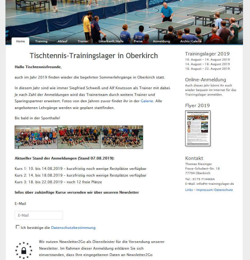 Tischtennis-Trainingslager in Oberkirch